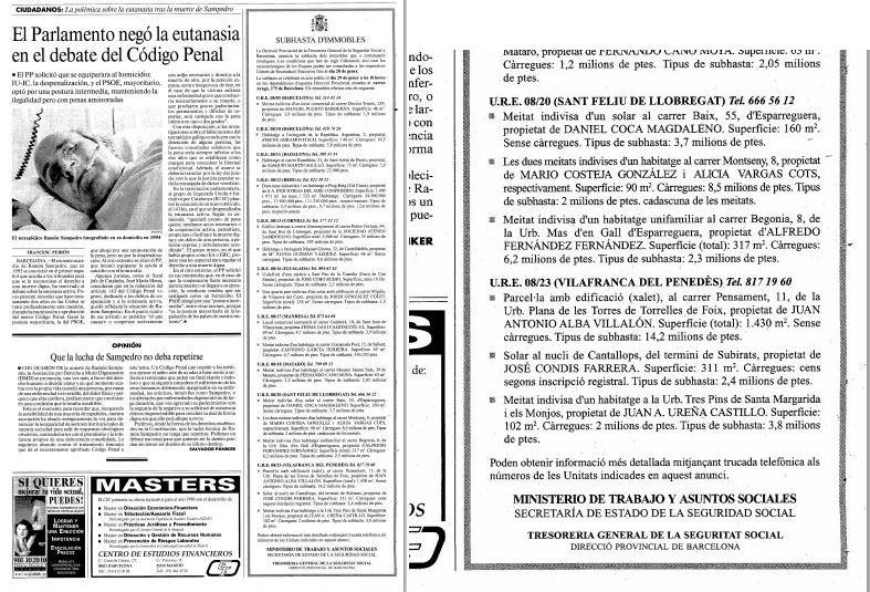 Página del diario LA VANGUARDIA