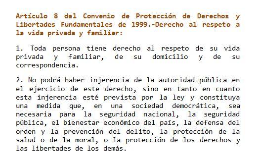Art 8. Convenio derechos y libertades